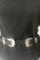 Belt with double buckle in leather
