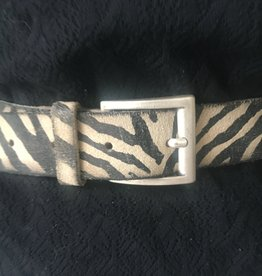 Belt zebra/panter print, genuine leather with mat silver buckle