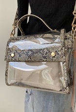 Trendy bag with snakeprint and plastic