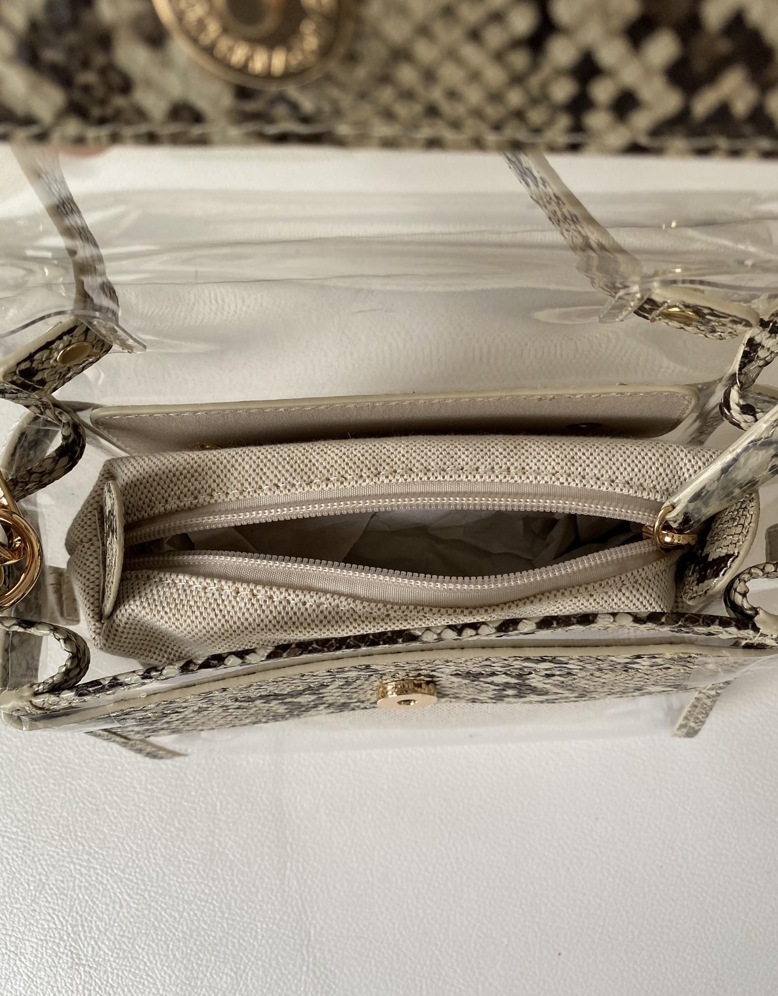 Trendy tasje met slangenprint en plastic