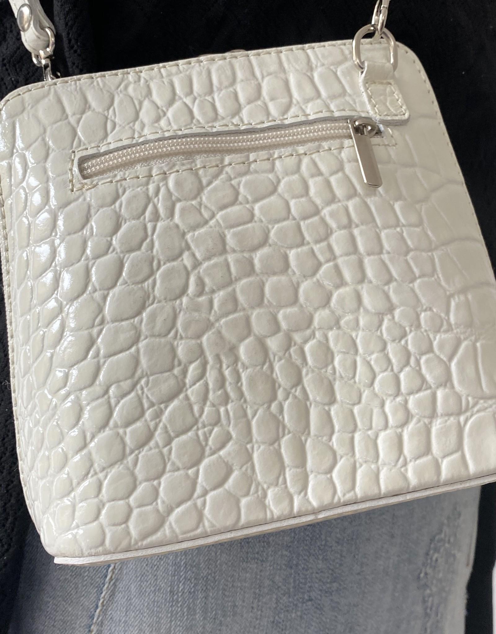 Leather croco white little bag