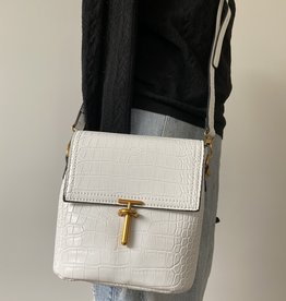 White croco bag with long shoulderbelt, artificial leather