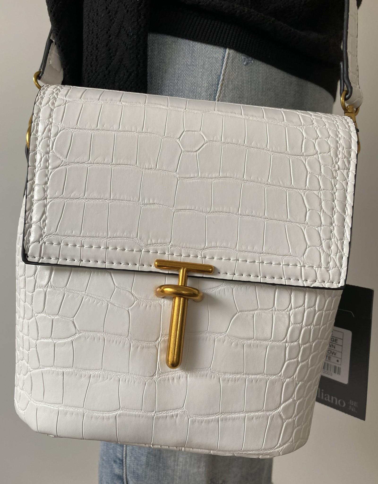 White croco bag with long shoulderbelt.