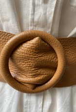 Giuliano Lederen brede riem met ronde doortrekgesp