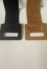Suede wide belt with triangle pull-through buckle