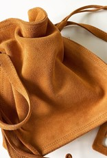 Giuliano Soft suede pouch bag with long shoulderbelt