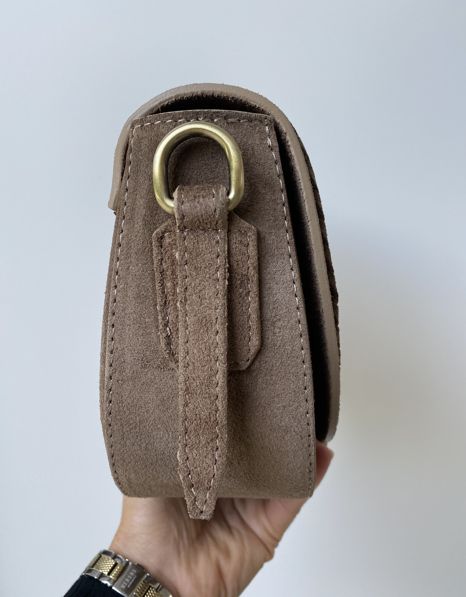 Suede bag with braid accent in front