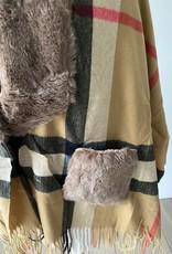 Poncho fleece checkered with fake fur