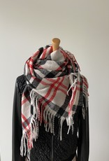 Checkered scarf, beige, black and red.