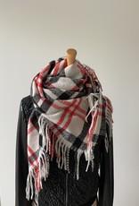 Geruite sjaal, beige, zwart en rood