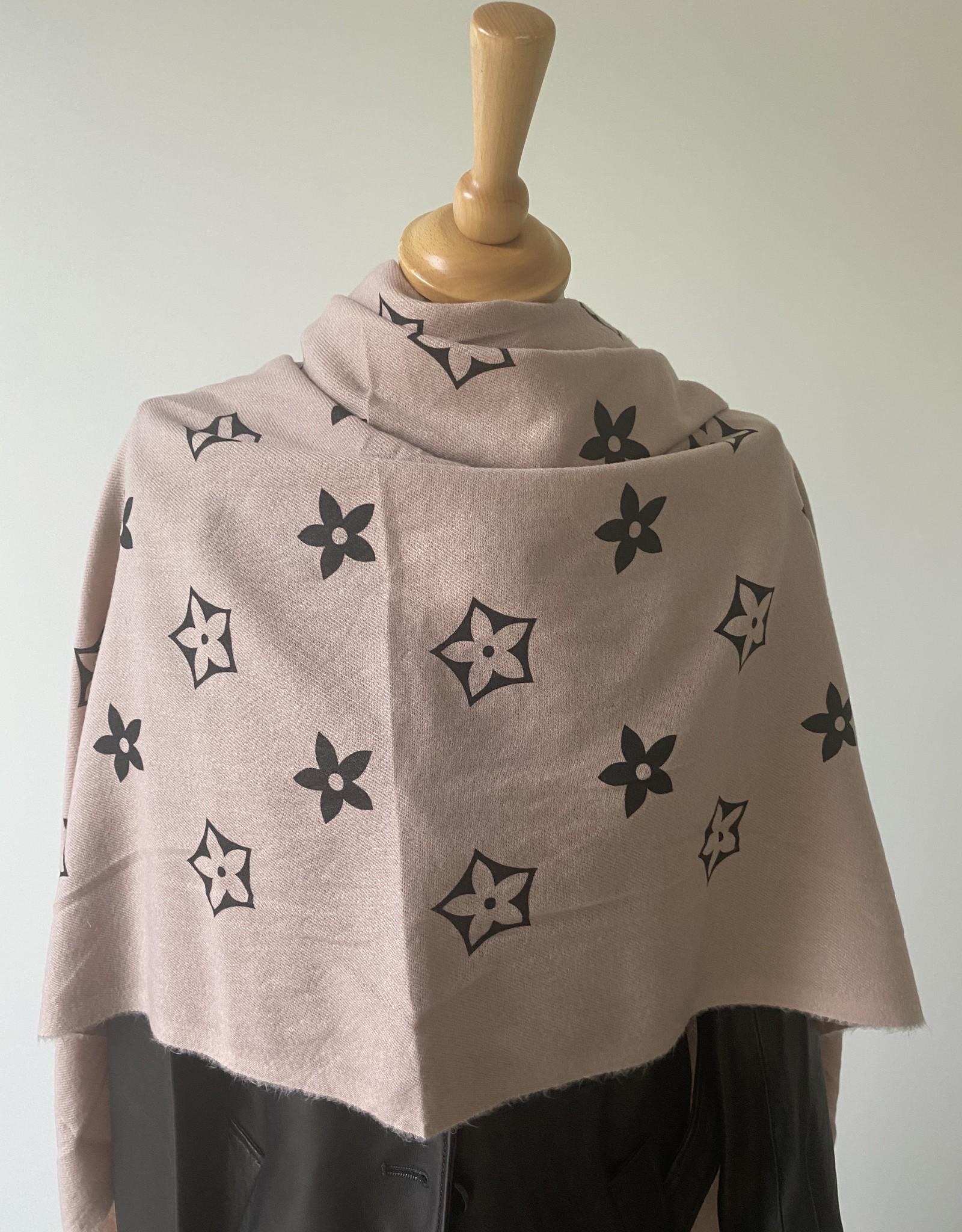 Zachte sjaal met motief en franjes