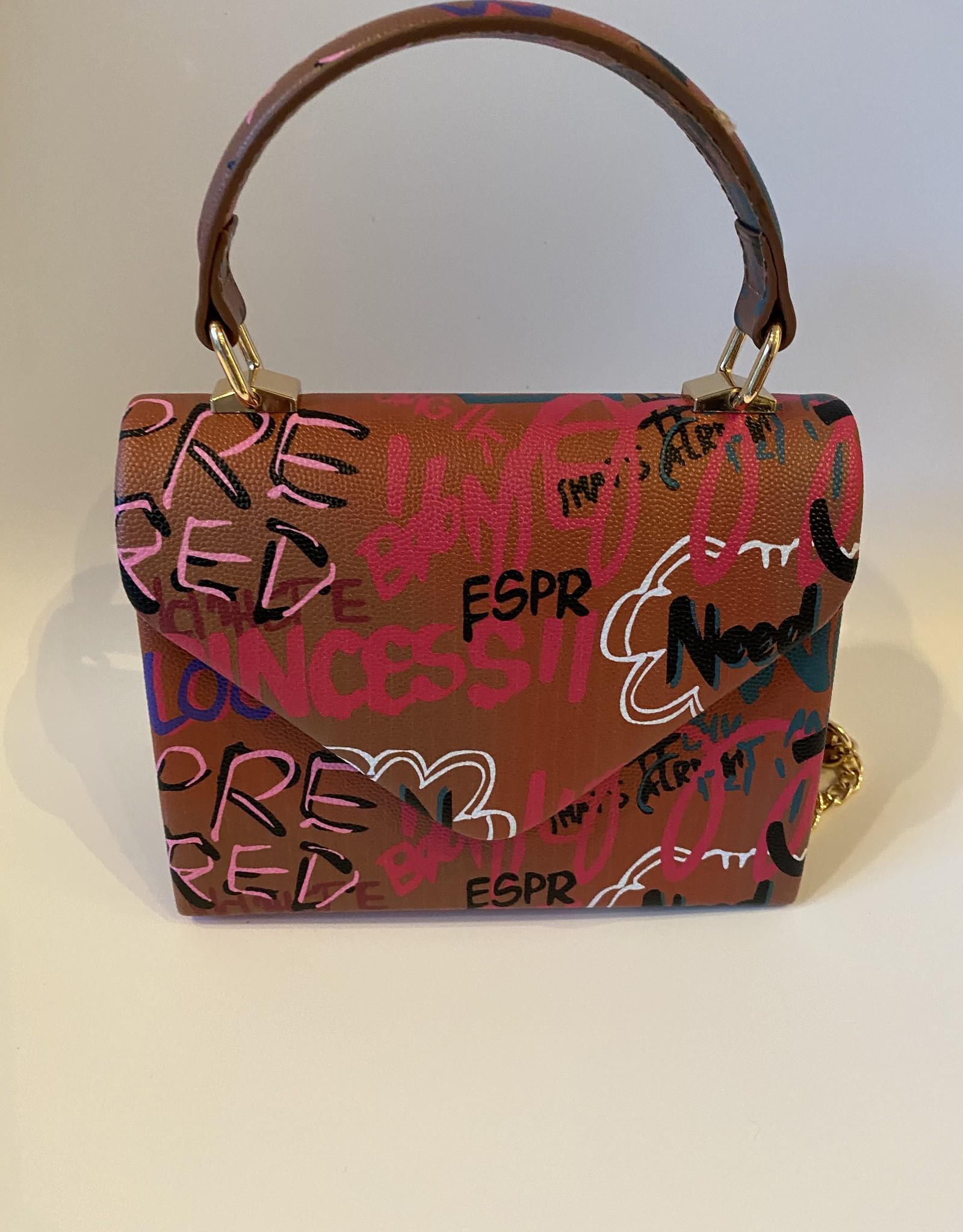 Fantasie tasje met graffiti met lange kettingriempje en handvat.