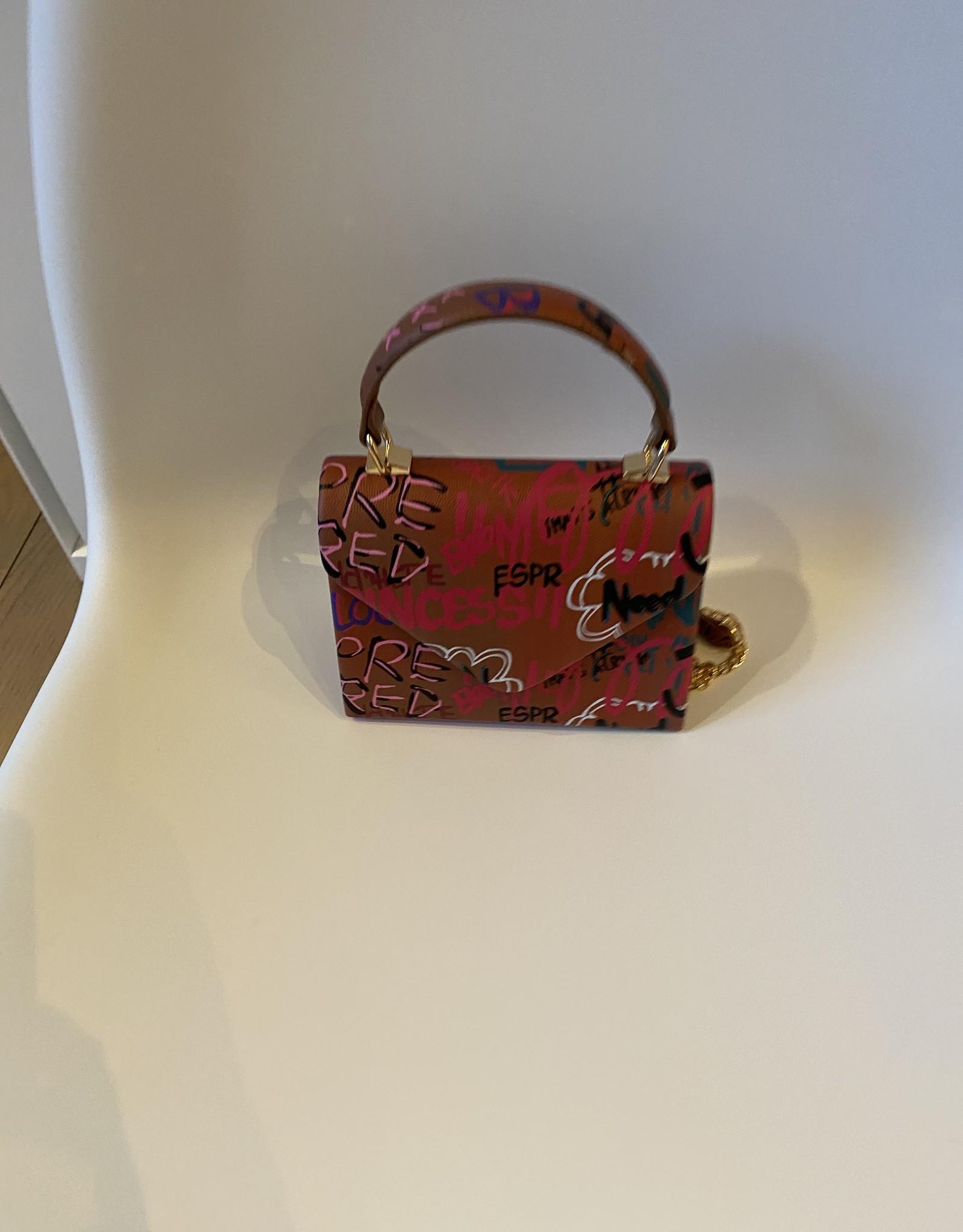Fantasy bag with graffiti and long shoulderbelt and handle