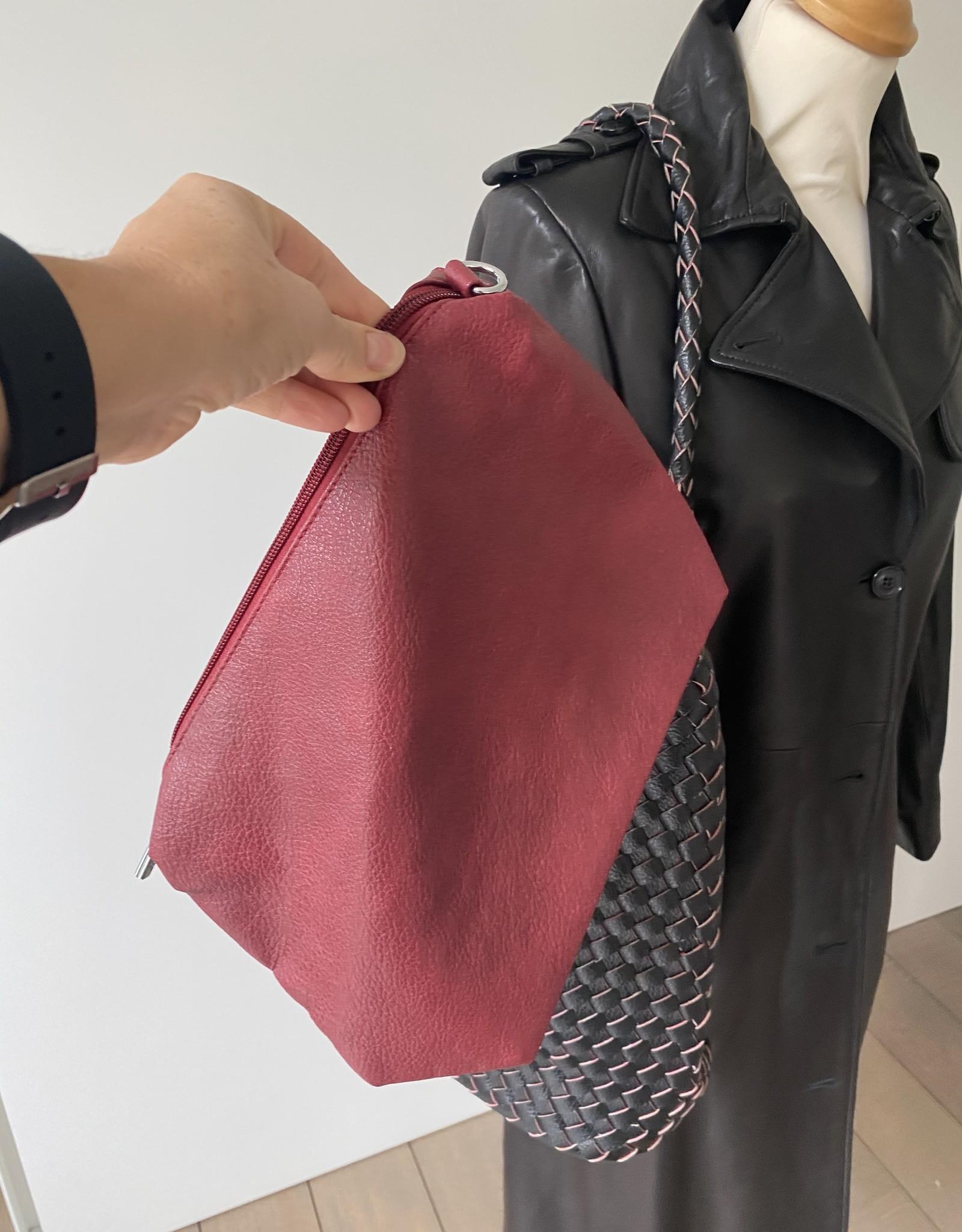 Omkeerbare gevlochten tas in kunstleder