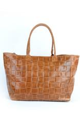 Woven shopper in leather
