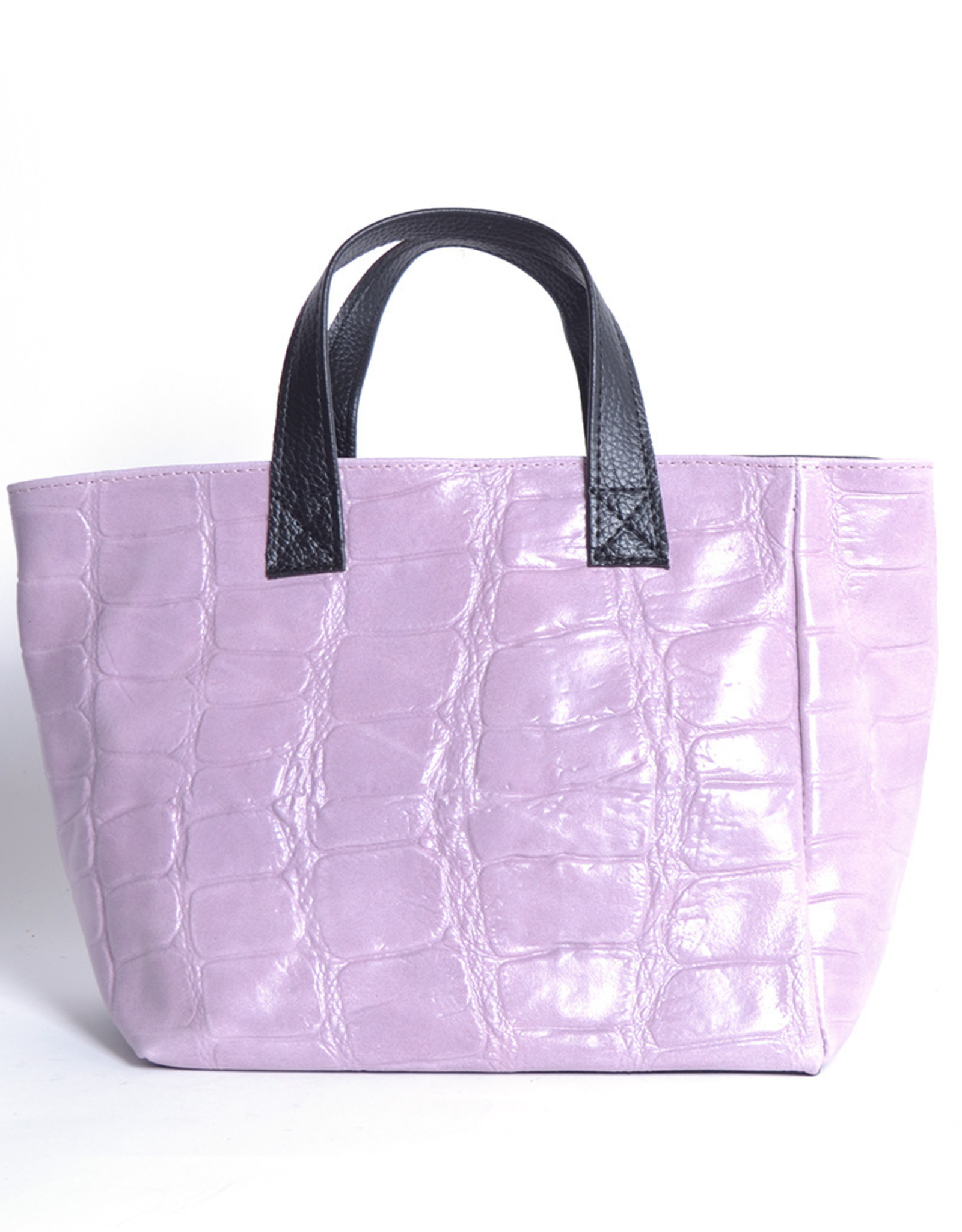 Croco leather bag with handles and long shoulderbelt.