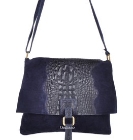 Daim/croco leder combinatie soepele tas donkerblauw.