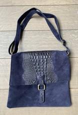Buckskin/croco leather, soft leather bag , dark blue