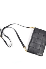 Big clutch/shoulderbag in woven leather
