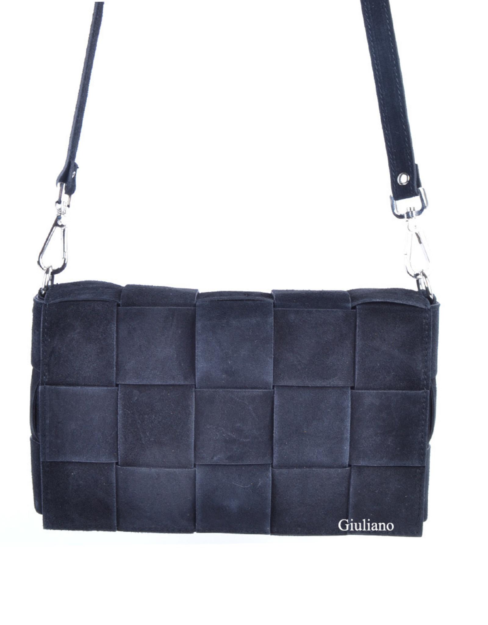 Grote clutch/schoudertas in gevlochten leder met uitneembare binnentas.