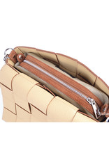 Woven leather bag, with removable bag inside.