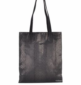 Buckskin leather shopper in croco.