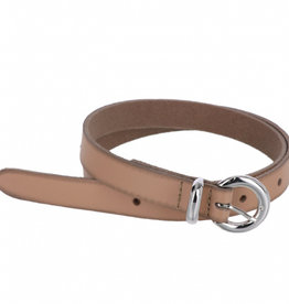 Small leather belt with nikkel buckle