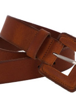 Wide leather belt with buckle in the same leather