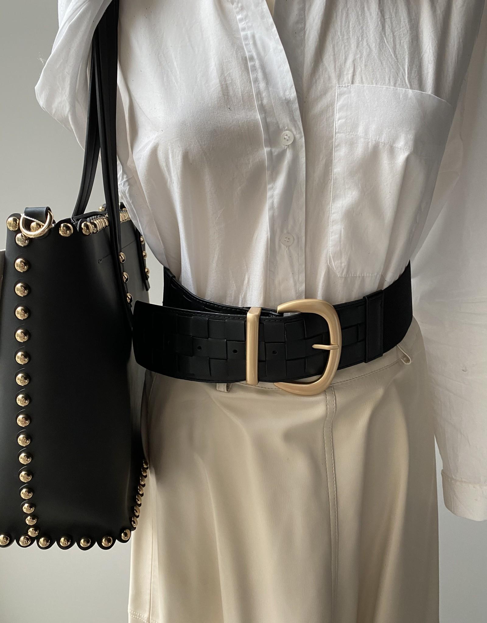 Brede zwarte riem met kunstleder en elastiek, goudkleurige gesp