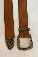 Leather belt camel in cowboy style.
