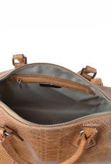 Crocoleather bowling bag with long shoulderbelt.
