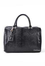 Leather bowling bag in crocoleather, Black with long shoulderbelt.