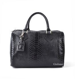 Black leather bowlingbag in crocoleather, Black with long shoulderbelt.