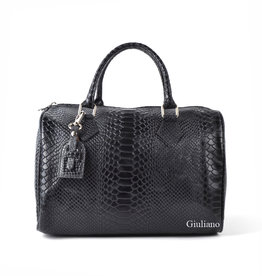 Leather bowling bag in crocoleather, Black with long shoulderbelt.