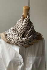 Long scarf F logo, Beige/brown and orange colors.