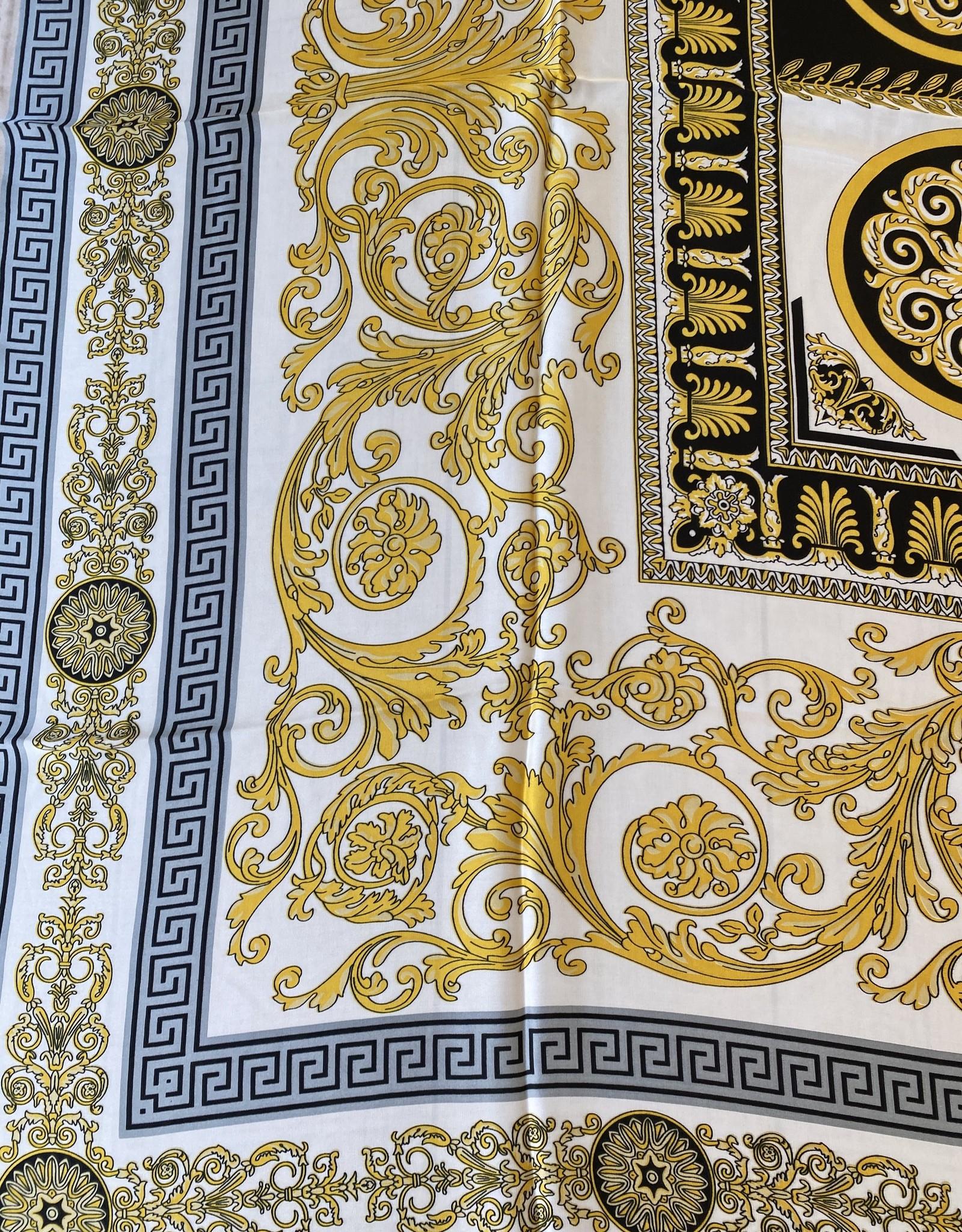 Vierkante sjaal in satijn zwart/geel en wit