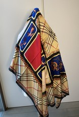 Vierkante sjaal multicolor, zwart, camel rood, blauw, roze