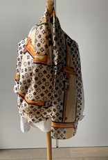 Scarf with brown/beige and orange colors.