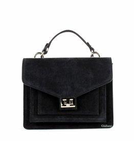 Black buckskin bag with handle and long shouderbelt.