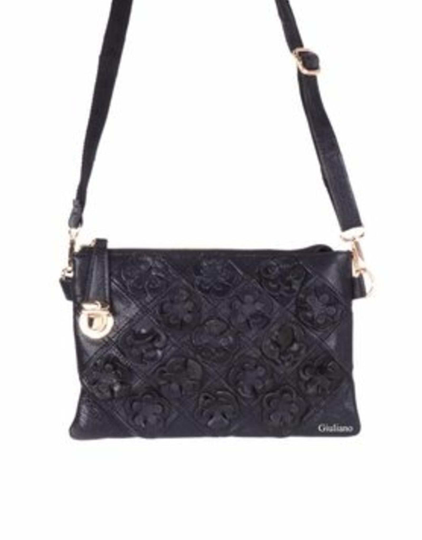 Zwarte clutch met bloemen