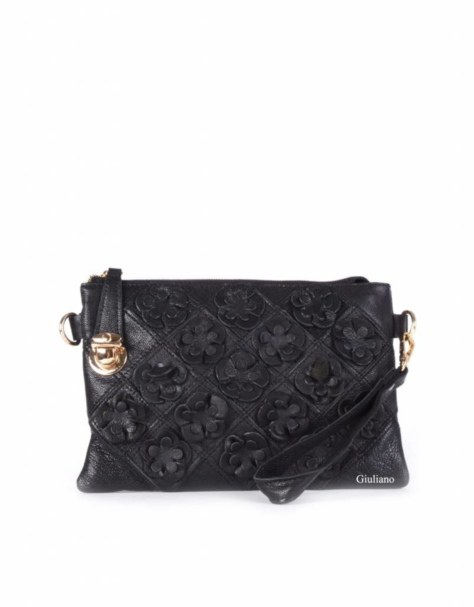 Black clutch with flowers