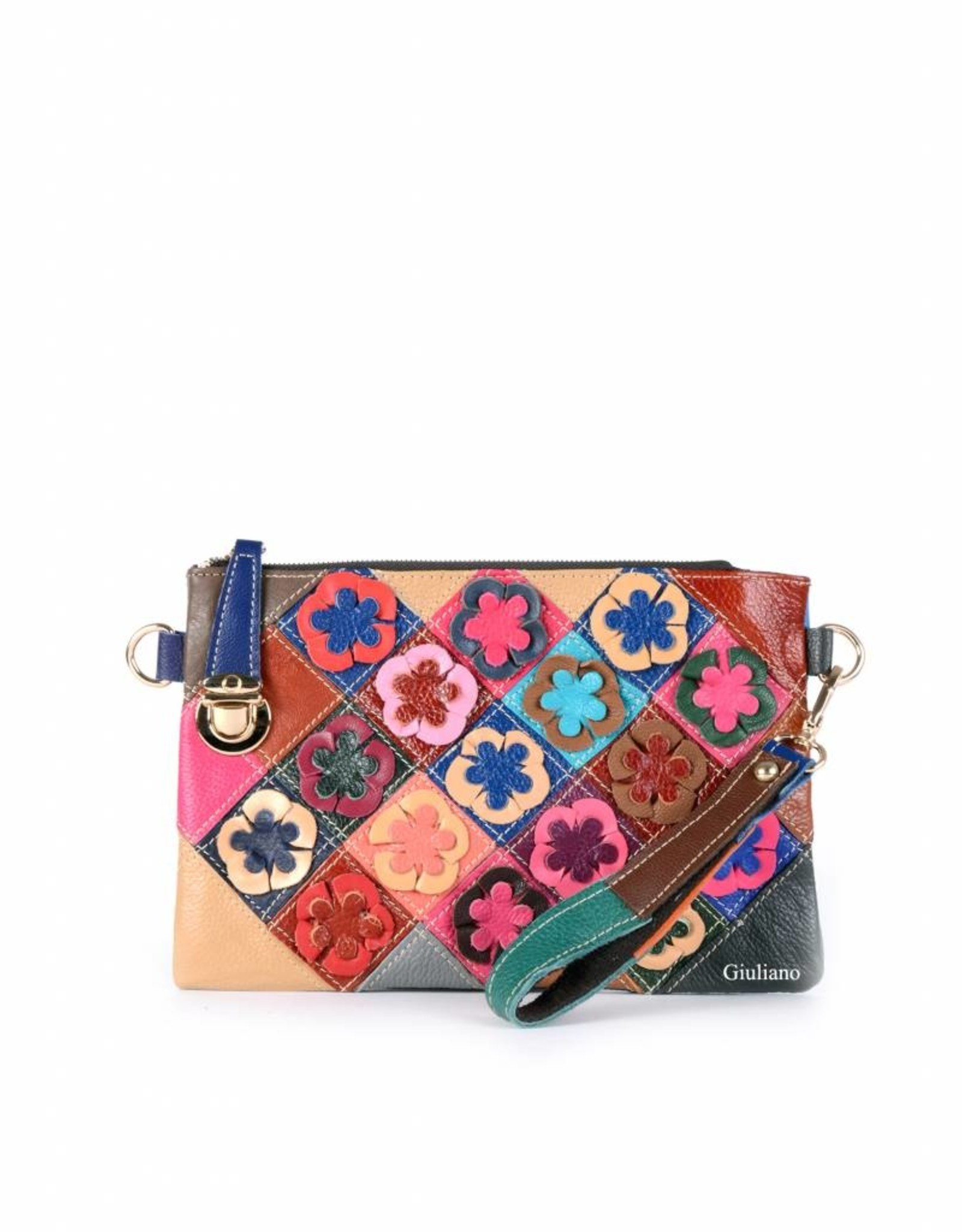Multicolor  leather clutch with flowers