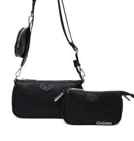 Triple pochette bag. Artificial leather