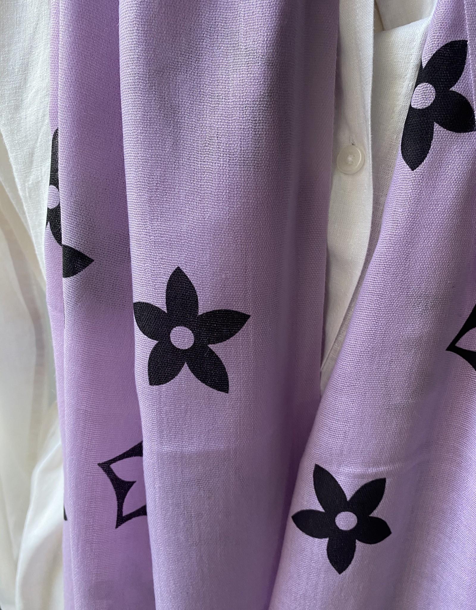 Katoenen sjaal paars met zwart logo