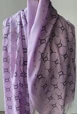 Katoenen paarse sjaal met G logo, logo in zwart en goud