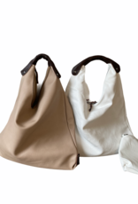 Artificial leather bag triangle with brown handle