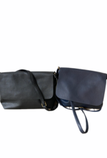Artificial leather bag with zipper and flap in black