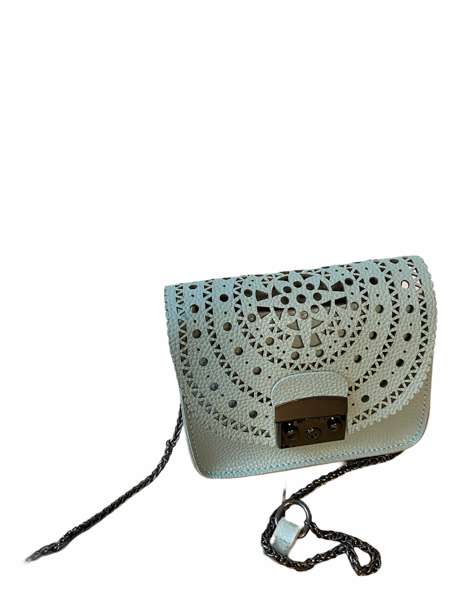 Little bag in artificial leather with flowerpattern