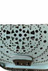 Klein tasje in kunstleder met perforatiebloemen