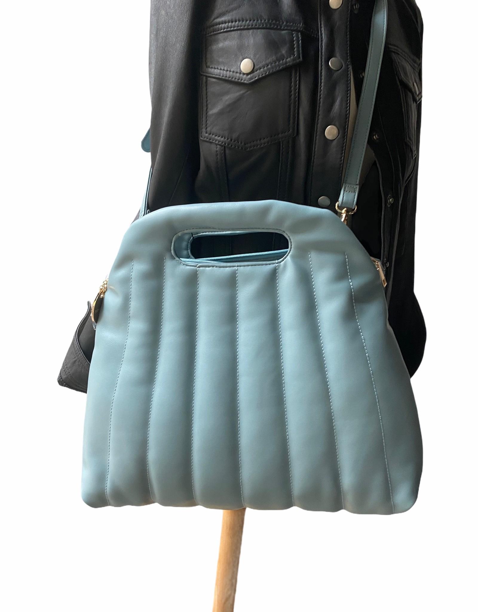 Artificial leather handbag with long shoulderbelt.
